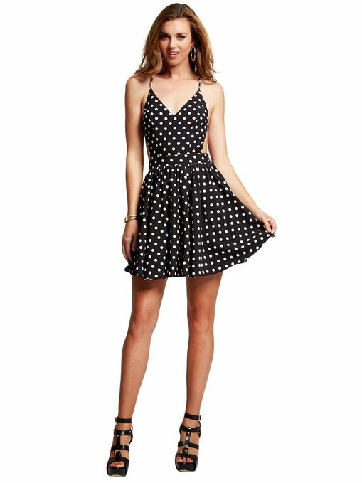 Guess Women S Printed Open Back Fit And Flare Dress Jet